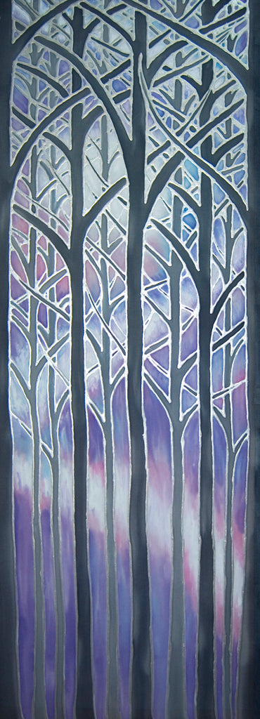 SOLD Tree Arches Original Art - Forest Original Silk Painting - Lilac Misty Trees Painting