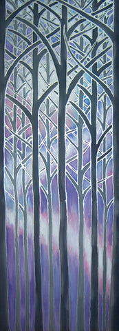 Tree Arches Original Art - Forest Original Silk Painting - Lilac Misty Trees Painting