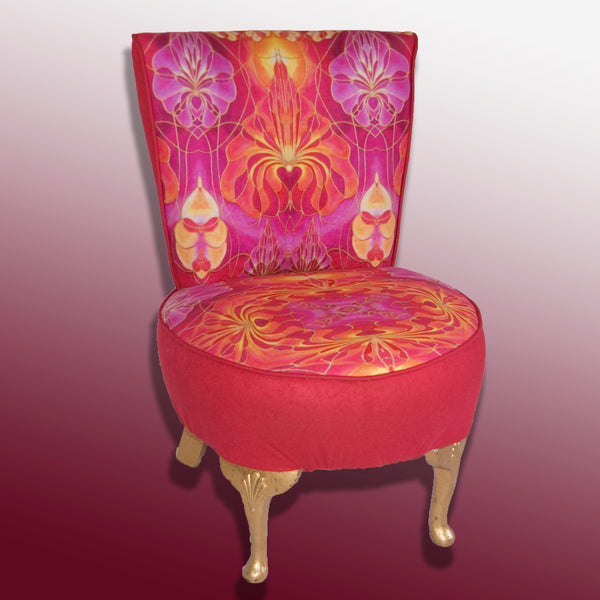 Bright Red Small Chair - beautiful Red Upholstery Fabric - Bespoke Upholstery