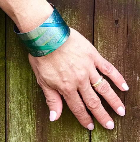 Gorgeous greens Cuff bracelet - Flowing Water Greens- Contemporary Cuff bracelet - Bangle - Meikie Designs