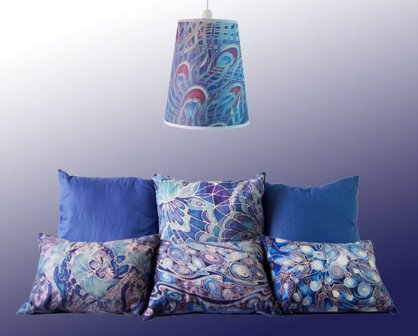 contemporary lampshades and cushions by meikie printed using designs from hand painted silk originals meikie designs