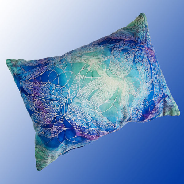 Dragonflies cushion - printed onto suedette fabric - blue green turquoise colours - dragonflies pillow