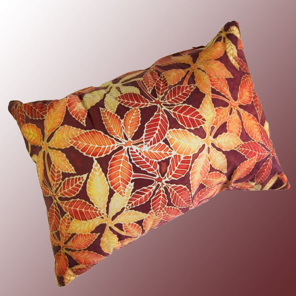 Beech Leaves Cushion in Red Yellow Chocolate Colours by Meikie