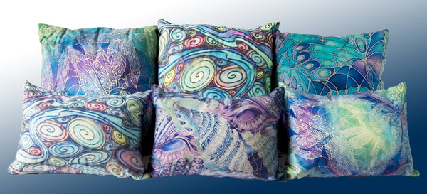 Contemporary circle organics cushion - printed onto suedette fabric - blue green turquoise colours - Contemporary Circlespillow