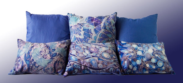 blue cushions contemporary designs by meikie pribnted using designs from hand painted silk originals meikie designs