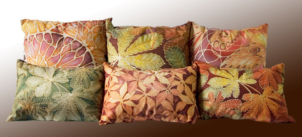 Bees and Flowers Cushion - plum, caramel and terracotta pillow - Accent Cushion Featuring Bees