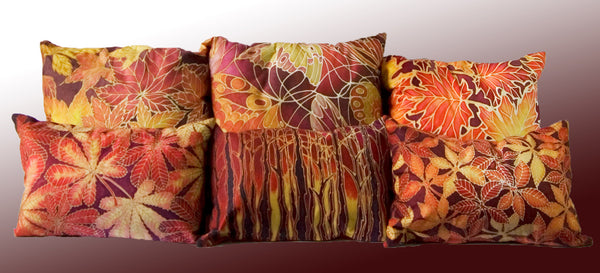 Autumnal Maple Leaves Cushion - Rich Reds and Yellows Pillow - Maple Leaves Pillow by Meikie