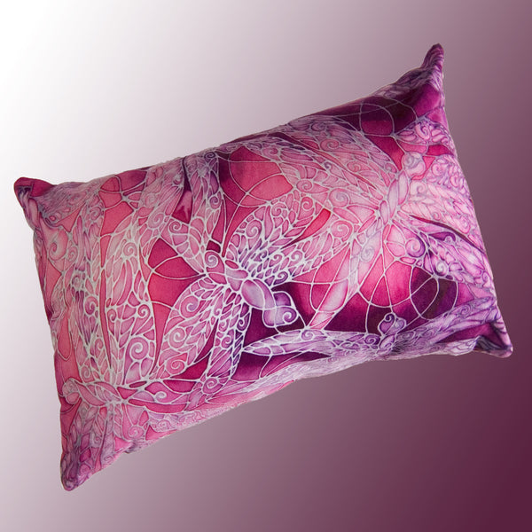 Dragonflies cushion - printed onto suedette fabric - pink plum colours - dragonflies pillow