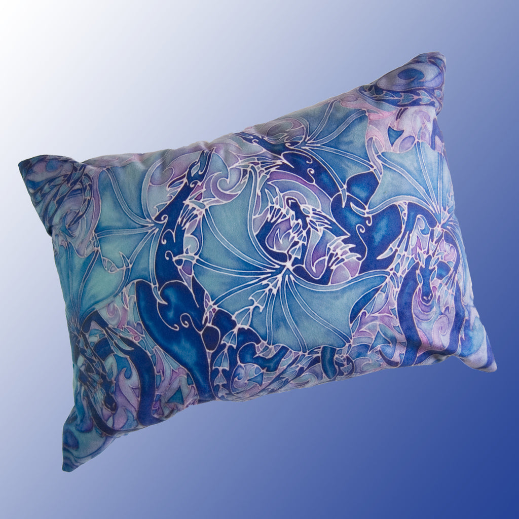 Dragon family cushion - printed onto suedette fabric - blue navy and prussian blue colours