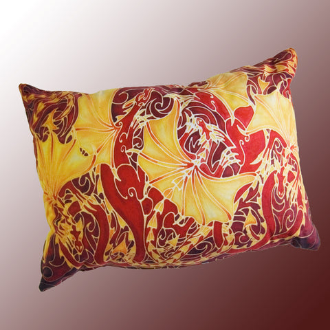 Dragon family cushion - printed onto suedette fabric - rich reds and yellows colours