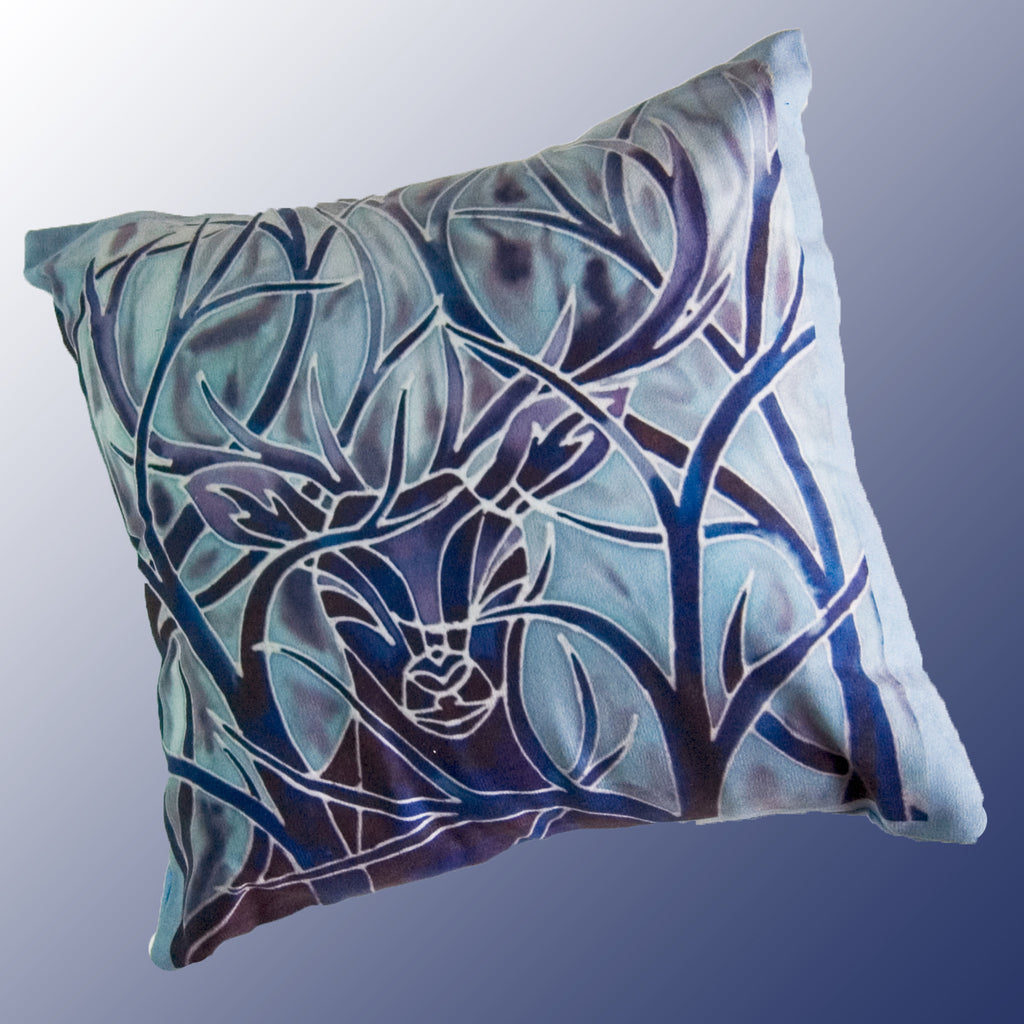 Stag in Trees cushion  - Blue Stag Cushion - Contemporary Stag pillow