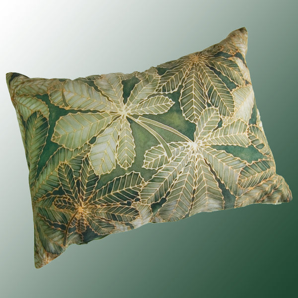 Horse Chestnut Leaves cushion - printed onto suedette fabric - green khaki - sage green colours - Chestnut Leaves Pillow