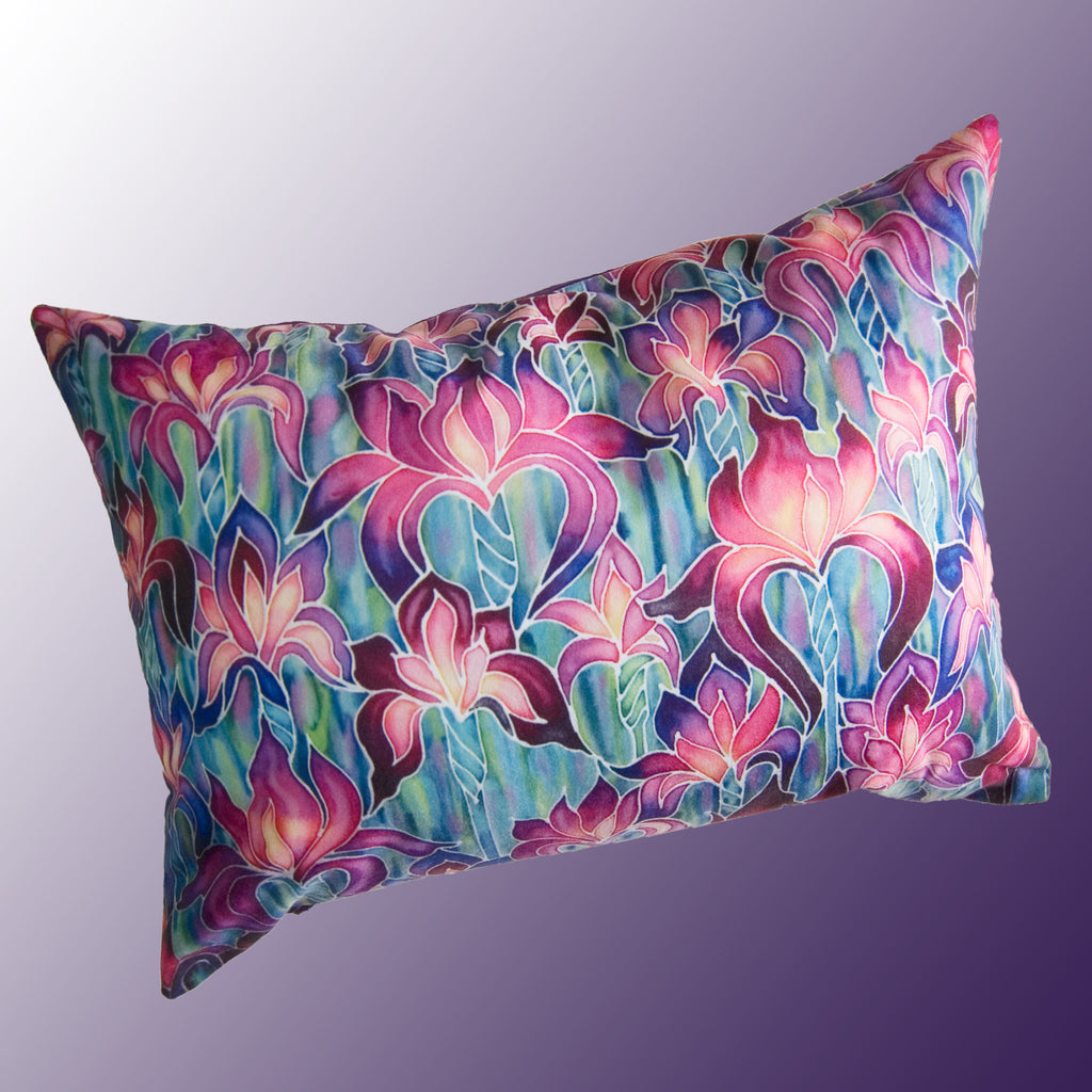 Purple Irises cushion - printed onto suedette fabric