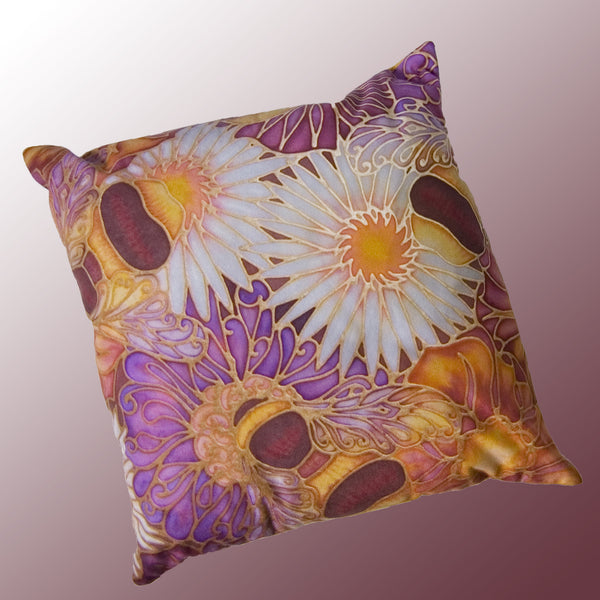 Bees and Flowers Cushion in Plum and Yellow by Meikie