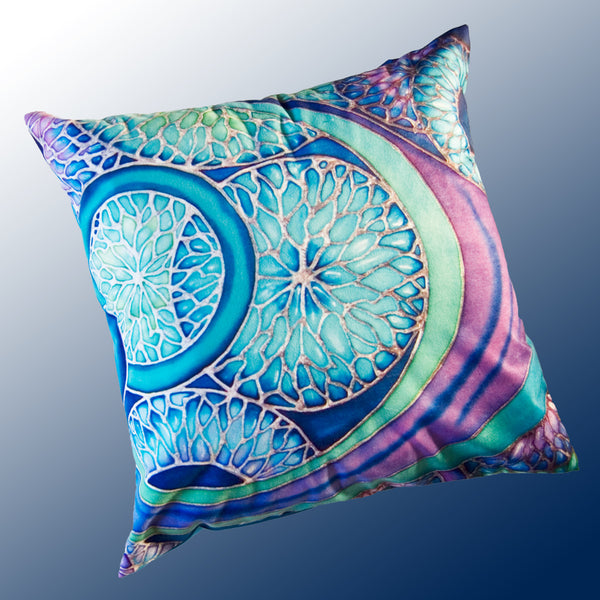 Contemporary Circles Cushion - Beautiful Blue Green Cushion - Pillow with Art Print - Meikie Designs