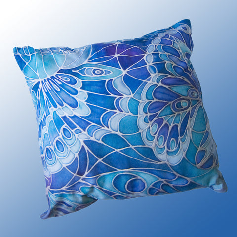 blue butterflies cushion by Meikie print from original silk painting meikie designs