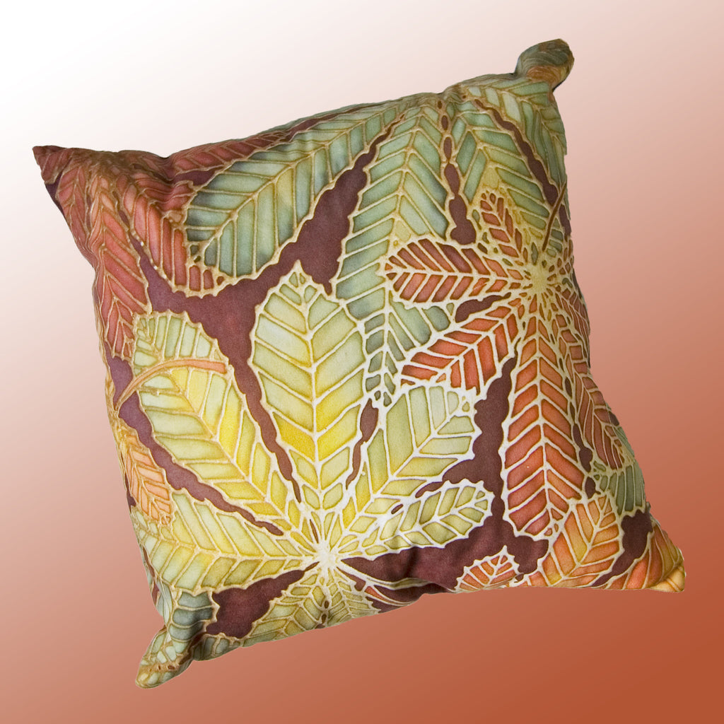 Horse Chestnut Leaves Cushion - green rust chocolate colours - Chestnut Leaves Pillow