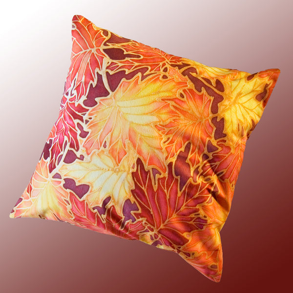 Autumnal Maple Leaves Cushion - Red and Yellow Art Cushion - Autumnal Throw Pillow - Meikie Designs