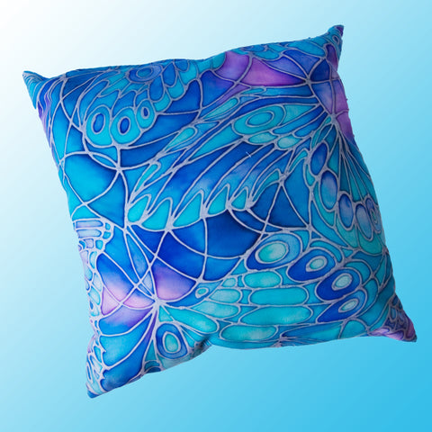 Butterfly Wings cushion - printed onto suedette fabric - blue green turquoise colours - Butterflies pillow