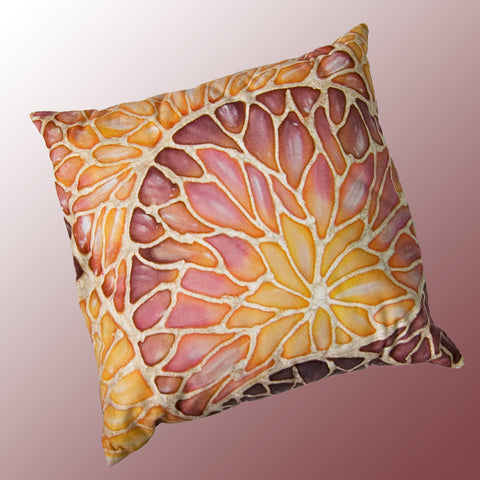 Contemporary Organics Cushion - printed onto suedette fabric - caramel and terracotta colours - Organics Pillow