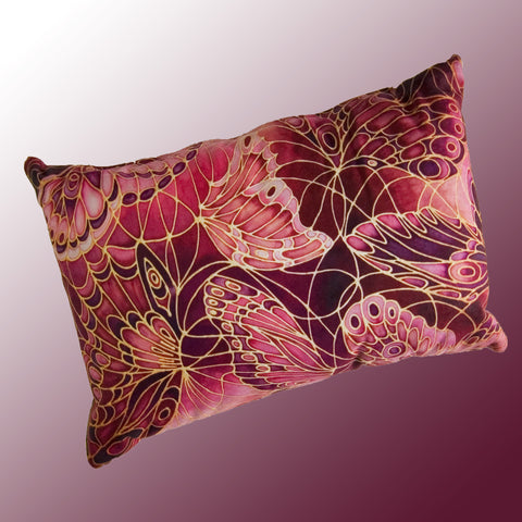 Butterflies cushion - printed onto suedette fabric - deep plum colours - dragonflies pillow