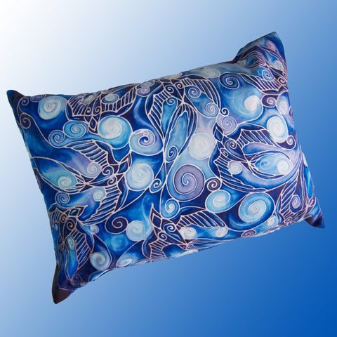 Swallows cushion - printed onto suedette fabric - blue navy and prussian blue colours