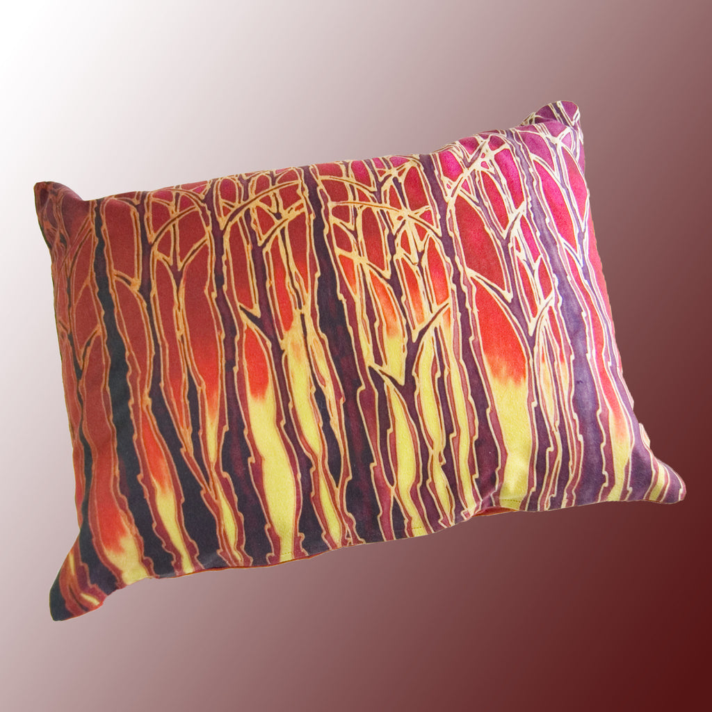 Tall Trees Sunset / Sunrise Cushion - rich reds & yellows Cushion - Trees Sunset Pillow Pillow