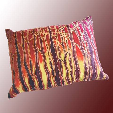 Tall Trees Sunset / Sunrise cushion - printed onto suedette fabric - rich reds and yellows colours - Tall Trees Sunset Pillow Pillow
