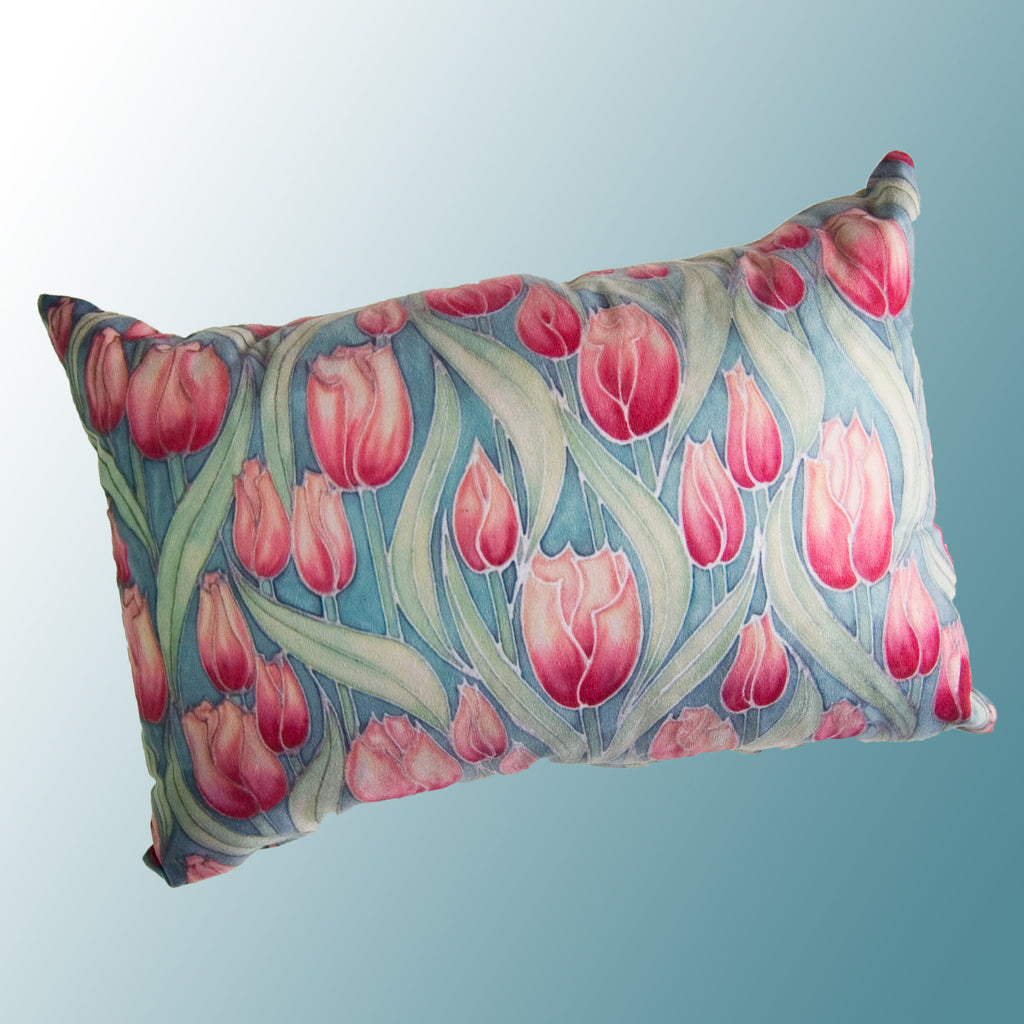 Pink Tulips cushion - printed onto suedette fabric - pink and mint green colours