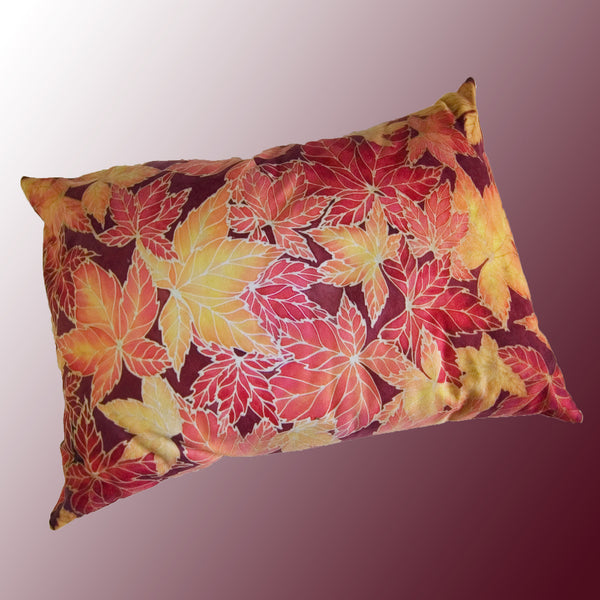 Stag in Trees Cushion - printed onto suedette fabric - rich reds and yellows colours - Stag in the Woods Leaves Pillow