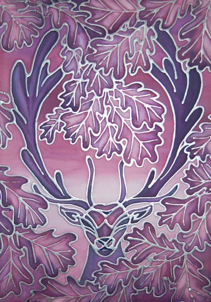 Stag Original Silk Painting - Fallow Deer Art - Purple Pink Art - Dramatic art