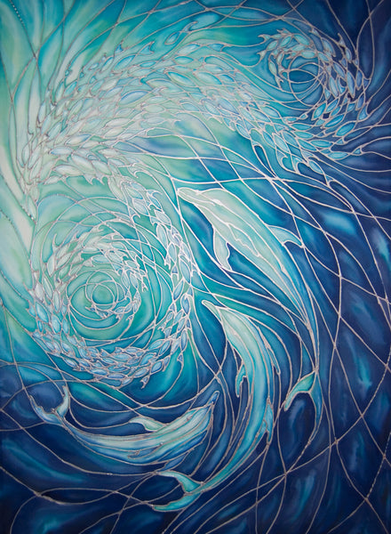 Dolphin Swirl Signed Print Sea Life Art Print Blue