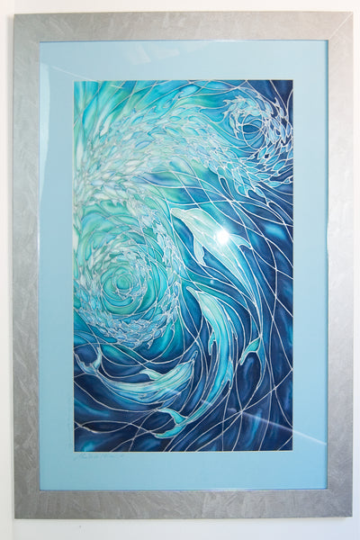 SOLD - Dolphin Swirl Original Painting - hand painted silk dolphins - Deep Sea Blues, Greens, Turquoises - Original Art