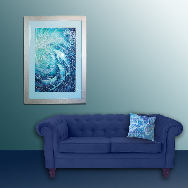 Dolphin Swirl Signed Print - Sea Life Art Print - Blue Aqua Dolphin Print - Bathroom Art