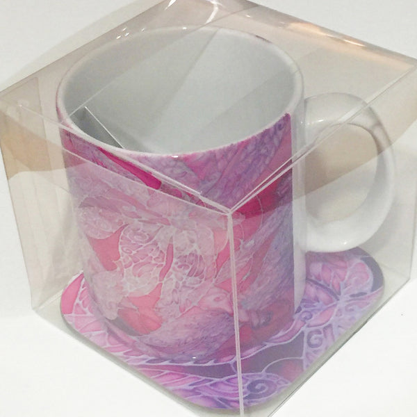 Pink Dragonfly Mug - Mug and Coaster Box Set - Pretty Pink Mug Gift