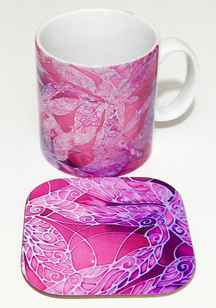 Pink Dragonfly Mug and Coaster by Meikie