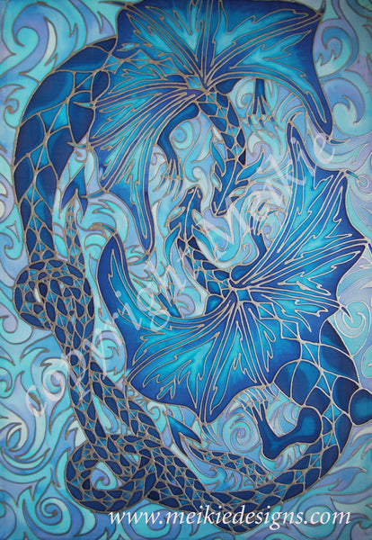 Intertwined Dragons Print - Mythical Creatures Art Print - Fiery Blue Dragons Print
