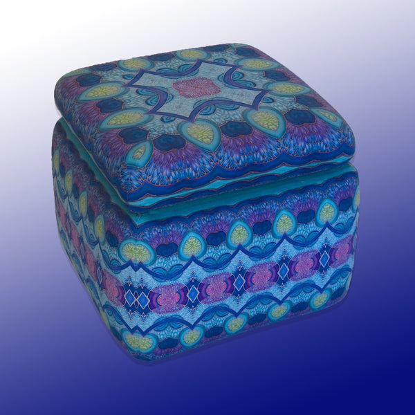 Richly Patterned Footstool - Bohemian Footstool with Storage - Meikie Designs