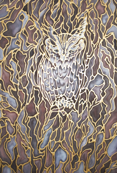 Owl Painting -Wildlife Painting - Silk Painting