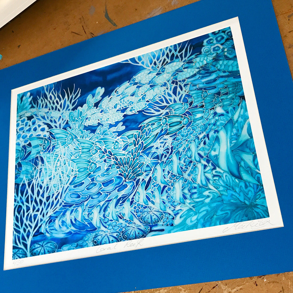 Coral Reef Art Print - signed Print - limited Edition Print - blue coral reef -maeikie designs