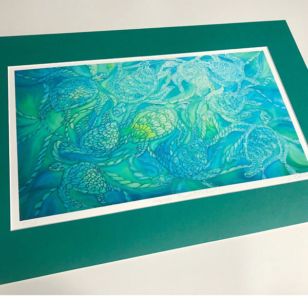 Sea green turtles print - turle picture for bathroom