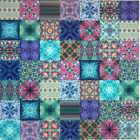 Cool Bohemian Mixed Set of 50 Ceramic Tiles - Blue Green Purple Turquoise Bright Bohemian Kitchen Tiles