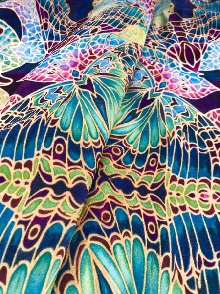 Teal Green Red Lime Gold 'Star Butterfly' Designer 100% Cotton Satin fabric for curtains, upholstery and soft furnishings
