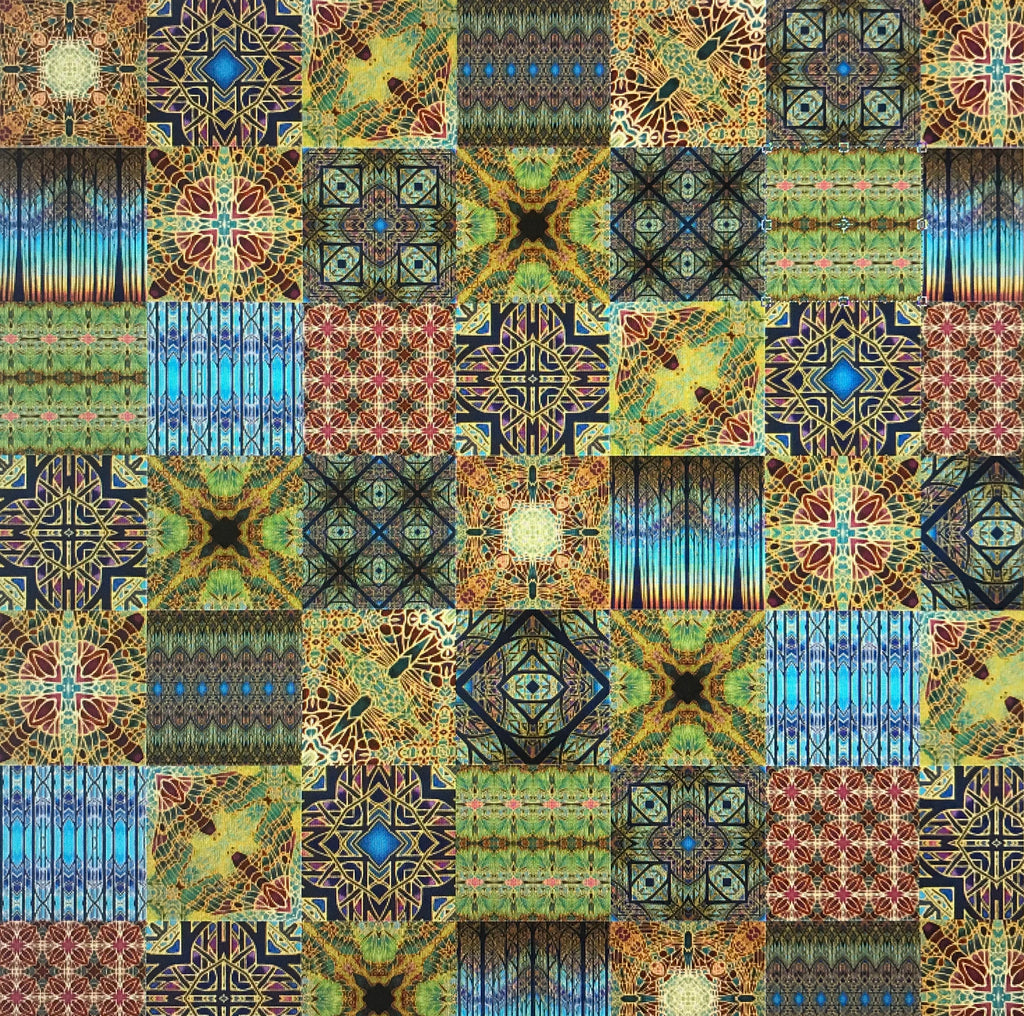 Bohemian Mixed Set of 50 Ceramic Tiles - Blue Green Gold and Burgundy Bright Bohemian Kitchen Tiles