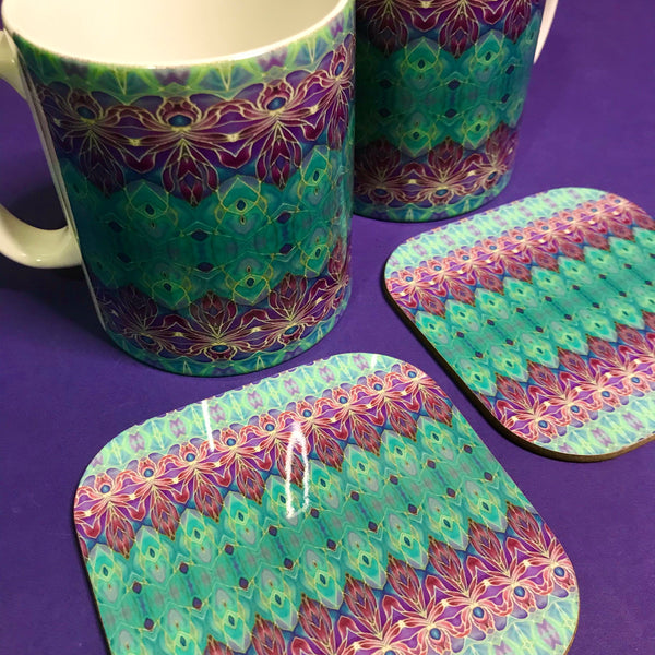 Persian Orchid High Quality Table Mats - Purple Turquoise Green Tableware