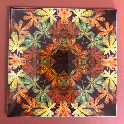 Nouveau Style Horsechestnut Leaf Tiles - Beautiful Green Rust Chocolate Tiles - Bohemian Ceramic hand printed  Tiles
