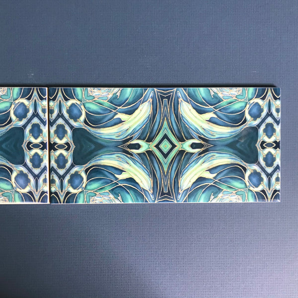 Blue Teal Dolphin Rectangular Tiles -  Ceramic Metro Brick Shaped Hand Printed Bathroom Kitchen Tiles
