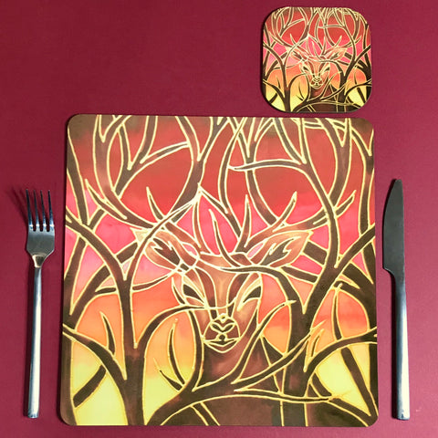 Square Red Stag Table Mats and Coasters - Hard wearing beautiful place mats