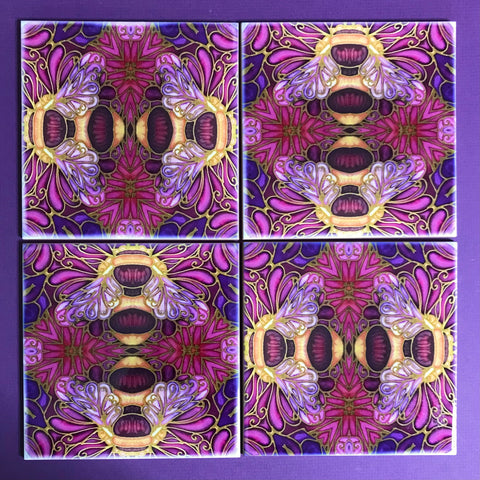 Gorgeous Bumble Bee Tiles in Rich Plum - Beautiful Ceramic Bohemian Tiles - Kitchen Bathroom Tiles