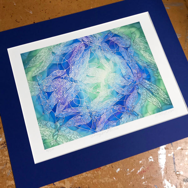 Blue Green Dragonfly Art Print - Intricate Lace Wing Print - Bathroom Art